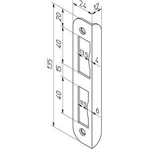 Hoeksluitplaat HP1266/12 afgerond rechts