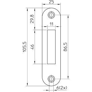 Sluitplaat P636/17 afgerond RVS LS/RS, tbv meterkast