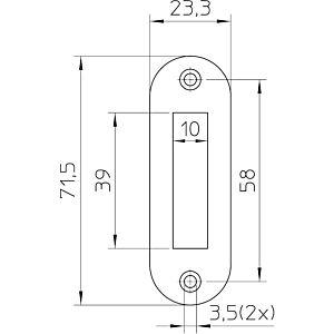 Sluitplaat P1256/12 afgerond geg. LS/RS