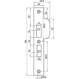 Nemef sluitplaat P4119/27 RVS afgerond