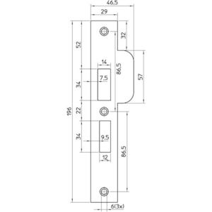Nemef sluitplaat P4119/27 RS RVS afgerond