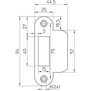 Sluitplaat P635/17 afgerond RVS LS/RS, tbv loop