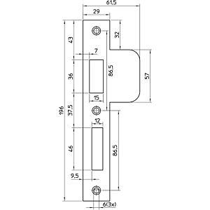 Sluitplaat links sluitend rechthoekig 10 P4139/17